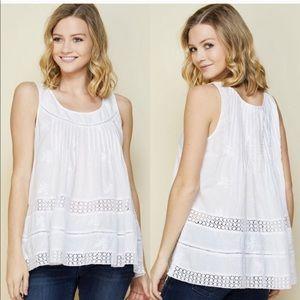 Embroidered Eyelet White Sleeveless Tunic Medium